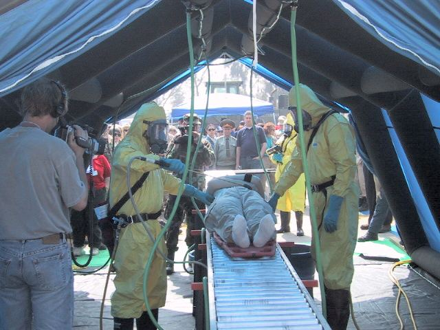 decon tent & Oregon Disaster Medical Team - Rough and Ready Drill